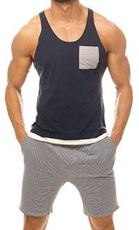 Singlet: Navy & Shorts: Stripes
