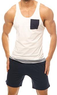 Singlet: Ivory & Shorts: Navy